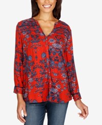 Lucky Brand Vintage Printed High Low Shirt Red Multi