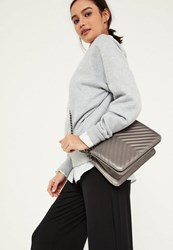 Missguided Silver Metallic Statement Chain Cross Body Bag Pewter
