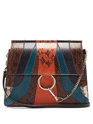 Chloe Faye Medium Snakeskin And Leather Shoulder Bag 1061 Black Multi