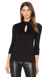 Haute Hippie Long Sleeve Keyhole Turtleneck Top Black