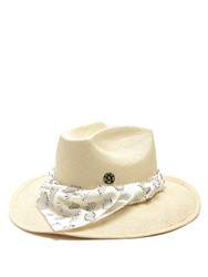 Maison Michel Lucky Dart In My Heart Straw Hat Beige Multi