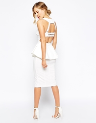 Forever Unique Structured Peplum Pencil Dress With Multi Strap Back Ivory