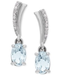 Macy's Aquamarine 3 4 Ct. T.W. And Diamond Accent Drop Earrings In 14K White Gold