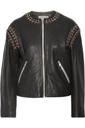 Etoile Isabel Marant Buddy Embellished Leather Jacket Black