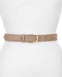 Neiman Marcus Mini Grommet Faux Leather Belt Gray