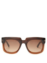 Tom Ford Eyewear T Monogram Square Acetate Sunglasses Brown