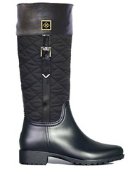 Dav Coventry Quilted Rain Boots Black