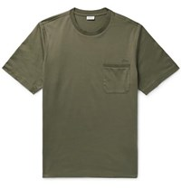 Brioni Embroidered Cotton Jersey T Shirt Army Green