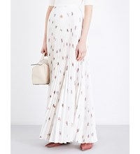 Gabriela Hearst Blight Pleated Silk Twill Maxi Skirt Floral On Ivory Ground