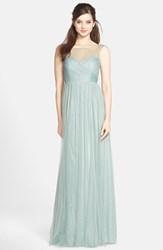 Women's Jenny Yoo 'Aria' Illusion Yoke Pleated Tulle Gown Ceil Blue
