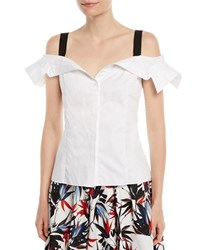 Jason Wu Off The Shoulder Button Down Cotton Top White