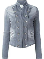 Pierre Balmain Military Style Denim Jacket Grey