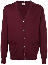 Kent And Curwen V Neck Cardigan Wool S Red