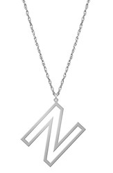 Women's Jane Basch Designs Varsity Initial Pendant Necklace Silver N