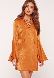 Missguided Flared Sleeve Lace Up Front Shift Dress Orange
