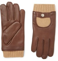Mulberry Cashmere And Leather Gloves Brown