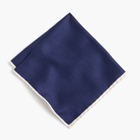 J.Crew Tipped Italian Linen Pocket Square In Classic Navy