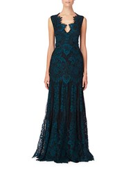 Erin Fetherston Scalloped Lace Gown Emerald Black