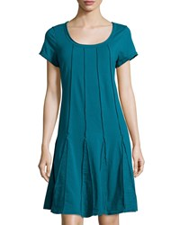 Neon Buddha Daydream Short Sleeve A Line Dress Teal Blue