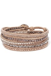 Chan Luu Leather And Rose Gold Plated Silverite Wrap Bracelet Beige Gbp