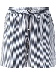 Victoria Beckham Denim Striped Drawstring Shorts Blue