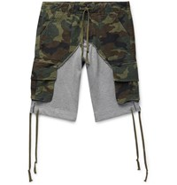 Greg Lauren Camouflage Print Cotton Canvas Panelled Loopback Jersey Drawstring Shorts Green