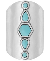 Lucky Brand Silver Tone Colored Stone Wide Ring