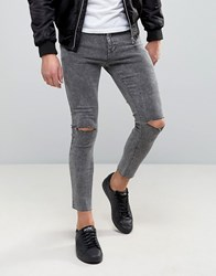 Pull And Bear Super Skinny Cropped Jeans With Rips In Gray Black