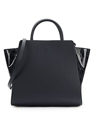 Zac Posen Eartha Matte And Patent Leather North South Satchel Navy