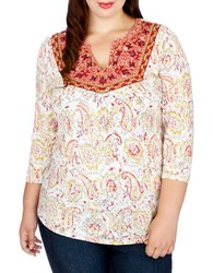 Lucky Brand Plus Embroidered Three Quarter Sleeve Top White