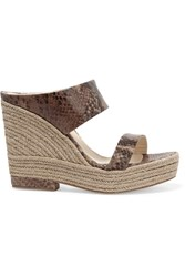Paloma Barcelo Snake Effect Leather Wedge Sandals Brown