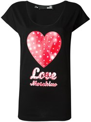 Love Moschino Heart Print T Shirt Black