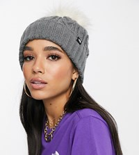 The North Face Oh Mega Fur Pom Beanie In Grey