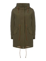 Sessun Parka With Hood And Zip Front Khaki