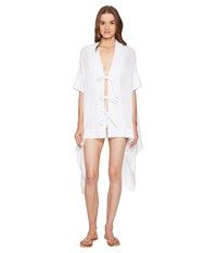Jonathan Simkhai Mesh Tie Front Caftan Cover Up Ivory