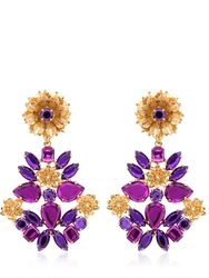 Mercantia Lux Flower Drop Earrings Gold Purple