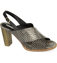Dries Van Noten Tarsiers Reptile Print Heeled Sandals Bone