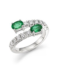 Bloomingdale's Emerald And Diamond Two Stone Wrap Ring In 14K White Gold Green White