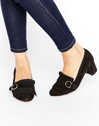 Park Lane Suede Fringe Mid Heel Loafer Black