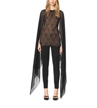 Michael Kors Beaded Lace Cape Blouse Black
