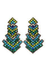 Suzanna Dai Women's 'Zocalo' Large Drop Earrings Olive Teal
