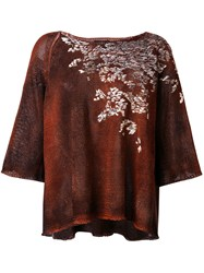 Avant Toi Printed Top Women Cotton Linen Flax Viscose One Size Red