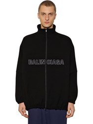 Balenciaga Zip Up Wool Jacket W Logo Embroidery Black
