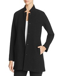 Eileen Fisher Petites Stand Collar Waffle Knit Jacket Black