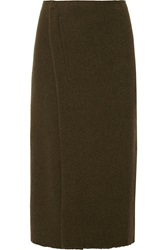 Isabel Marant Kiara Wool And Angora Blend Midi Wrap Skirt Green