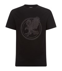 Stefano Ricci Flying Eagle Embroidered T Shirt Black
