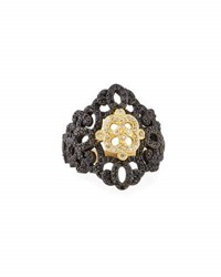 Armenta Old World Filigree Ring With White Diamonds And Black Sapphires Yellow Black