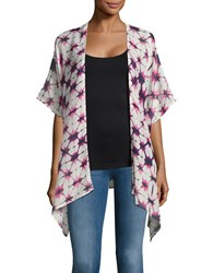 Lord And Taylor Kimono Cardigan White Purple