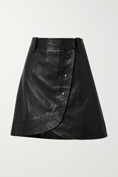 Ganni Asymmetric Leather Wrap Mini Skirt Black