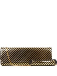 Balenciaga Pochette Striped Leather Clutch Black Gold